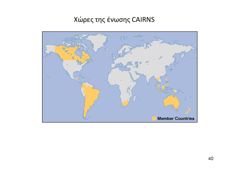 Χώρες της ένωσης CAIRNS 40