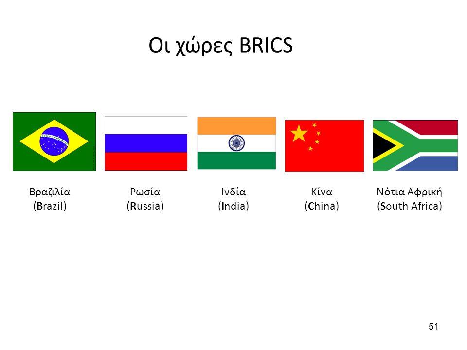 Βραζιλία (Brazil) Ρωσία (Russia) Ινδία (India) Κίνα (China) Οι χώρες BRICS Νότια Αφρική (South Africa) 51