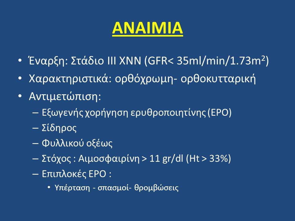 ΑΝΑΙΜΙΑ Έναρξη: Στάδιο ΙΙΙ ΧΝΝ (GFR< 35ml/min/1.73m 2 ) Χαρακτηριστικά: ορθόχρωμη- ορθοκυτταρική Αντιμετώπιση: – Εξωγενής χορήγηση ερυθροποιητίνης (EP