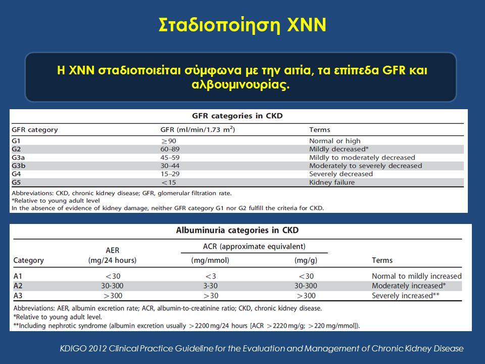 Σταδιοποίηση ΧΝΝ Η ΧΝΝ σταδιοποιείται σύμφωνα με την αιτία, τα επίπεδα GFR και αλβουμινουρίας. KDIGO 2012 Clinical Practice Guideline for the Evaluati
