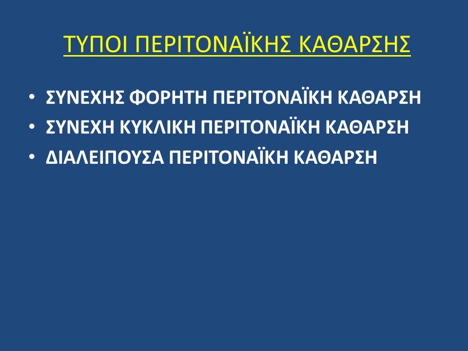 ΣΥΝΕΧΗΣ ΦΟΡΗΤΗ ΠΕΡΙΤΟΝΑΪΚΗ ΚΑΘΑΡΣΗ ΣΥΝΕΧΗ ΚΥΚΛΙΚΗ ΠΕΡΙΤΟΝΑΪΚΗ ΚΑΘΑΡΣΗ ΔΙΑΛΕΙΠΟΥΣΑ ΠΕΡΙΤΟΝΑΪΚΗ ΚΑΘΑΡΣΗ