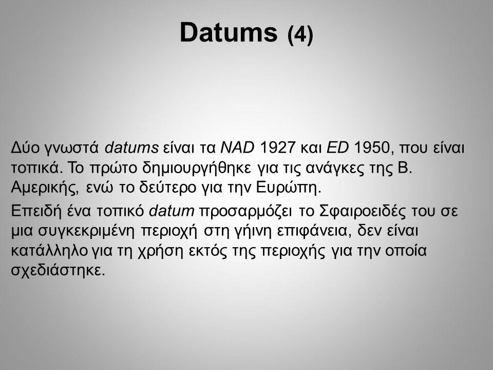 Δύο γνωστά datums είναι τα NAD 1927 και ED 1950, που είναι τοπικά.