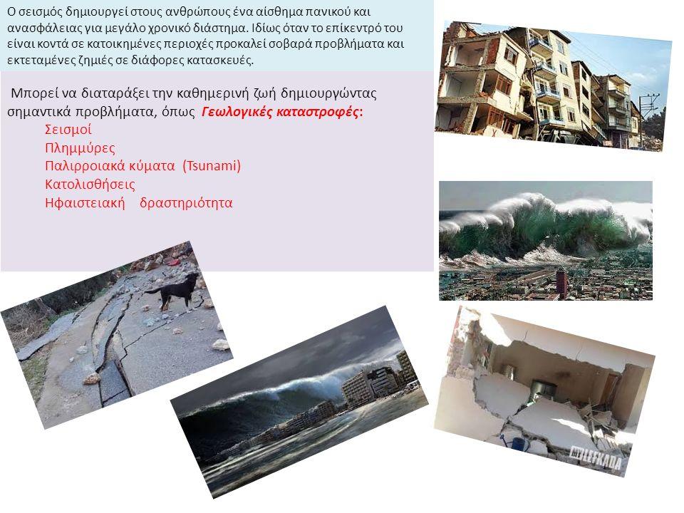 Μπορεί να διαταράξει την καθημερινή ζωή δημιουργώντας σημαντικά προβλήματα, όπως Γεωλογικές καταστροφές: Σεισμοί Πλημμύρες Παλιρροιακά κύματα (Tsunami