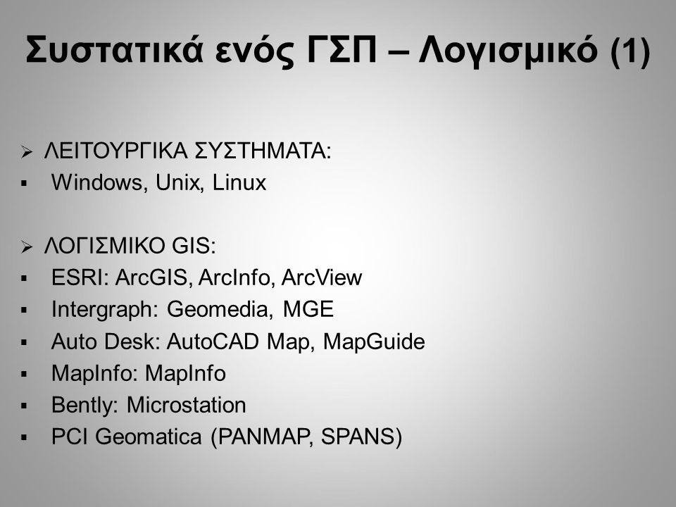 Συστατικά ενός ΓΣΠ – Λογισμικό (1)  ΛΕΙΤΟΥΡΓΙΚΑ ΣΥΣΤΗΜΑΤΑ:  Windows, Unix, Linux  ΛΟΓΙΣΜΙΚΟ GIS:  ESRI: ArcGIS, ArcInfo, ArcView  Ιntergraph: Geomedia, MGE  Auto Desk: AutoCAD Map, MapGuide  MapInfo: MapInfo  Bently: Microstation  PCI Geomatica (PANMAP, SPANS)