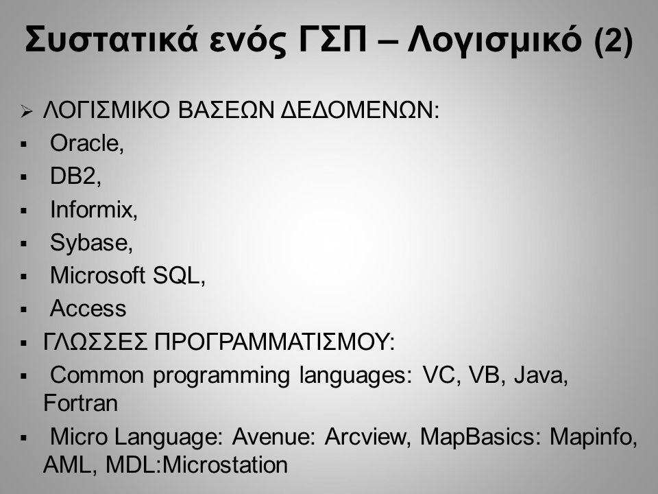  ΛΟΓΙΣΜΙΚΟ ΒΑΣΕΩΝ ΔΕΔΟΜΕΝΩΝ:  Oracle,  DB2,  Informix,  Sybase,  Microsoft SQL,  Access  ΓΛΩΣΣΕΣ ΠΡΟΓΡΑΜΜΑΤΙΣΜΟΥ:  Common programming languages: VC, VB, Java, Fortran  Μicro Language: Avenue: Arcview, MapBasics: Mapinfo, AML, MDL:Microstation Συστατικά ενός ΓΣΠ – Λογισμικό (2)