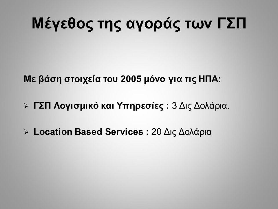 Μέγεθος της αγοράς των ΓΣΠ Με βάση στοιχεία του 2005 μόνο για τις ΗΠΑ:  ΓΣΠ Λογισμικό και Υπηρεσίες : 3 Δις Δολάρια.  Location Based Services : 20 Δ