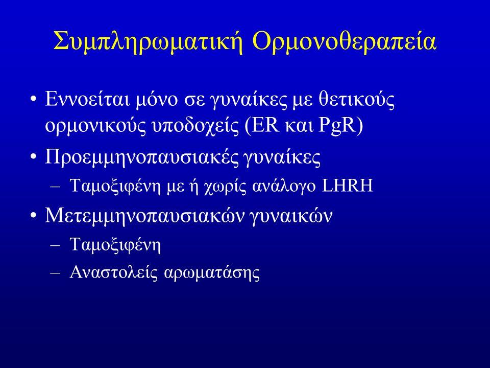 Συμπληρωματική Ορμονοθεραπεία Εννοείται μόνο σε γυναίκες με θετικούς ορμονικούς υποδοχείς (ER και PgR) Προεμμηνοπαυσιακές γυναίκες –Ταμοξιφένη με ή χωρίς ανάλογο LHRH Μετεμμηνοπαυσιακών γυναικών –Ταμοξιφένη –Αναστολείς αρωματάσης