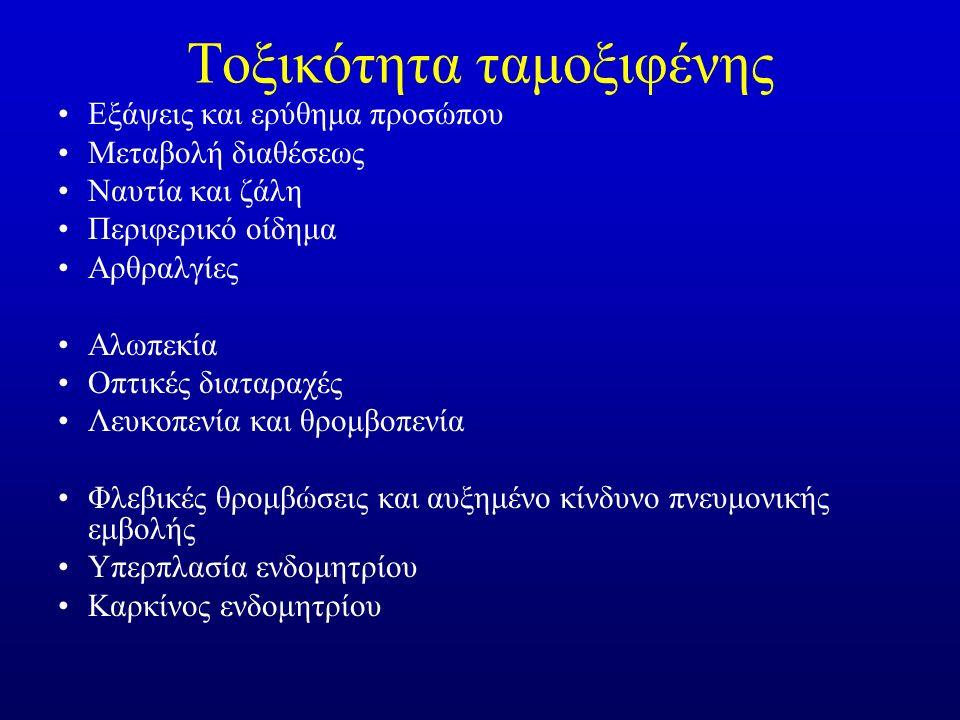 Τοξικότητα ταμοξιφένης Εξάψεις και ερύθημα προσώπου Μεταβολή διαθέσεως Ναυτία και ζάλη Περιφερικό οίδημα Αρθραλγίες Αλωπεκία Οπτικές διαταραχές Λευκοπενία και θρομβοπενία Φλεβικές θρομβώσεις και αυξημένο κίνδυνο πνευμονικής εμβολής Υπερπλασία ενδομητρίου Καρκίνος ενδομητρίου