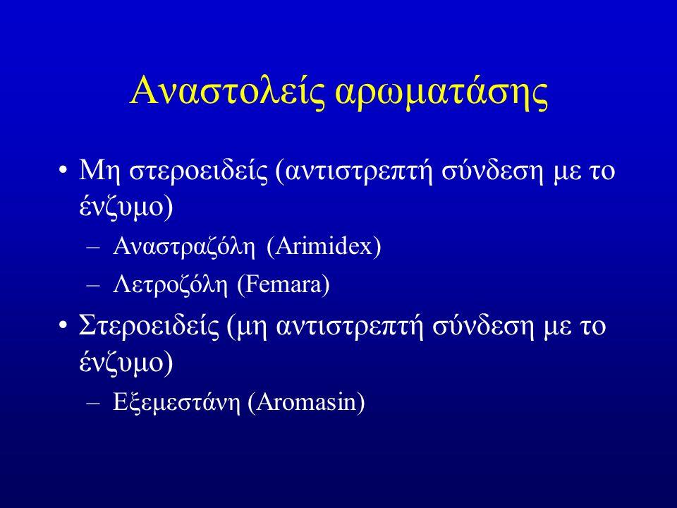 Αναστολείς αρωματάσης Μη στεροειδείς (αντιστρεπτή σύνδεση με το ένζυμο) –Αναστραζόλη (Arimidex) –Λετροζόλη (Femara) Στεροειδείς (μη αντιστρεπτή σύνδεση με το ένζυμο) –Εξεμεστάνη (Aromasin)
