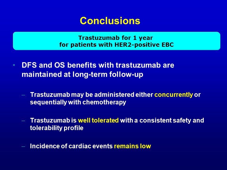 Conclusions DFS and OS benefits with trastuzumab are maintained at long-term follow-up –Trastuzumab may be administered either concurrently or sequentially with chemotherapy –Trastuzumab is well tolerated with a consistent safety and tolerability profile –Incidence of cardiac events remains low Trastuzumab for 1 year for patients with HER2-positive EBC