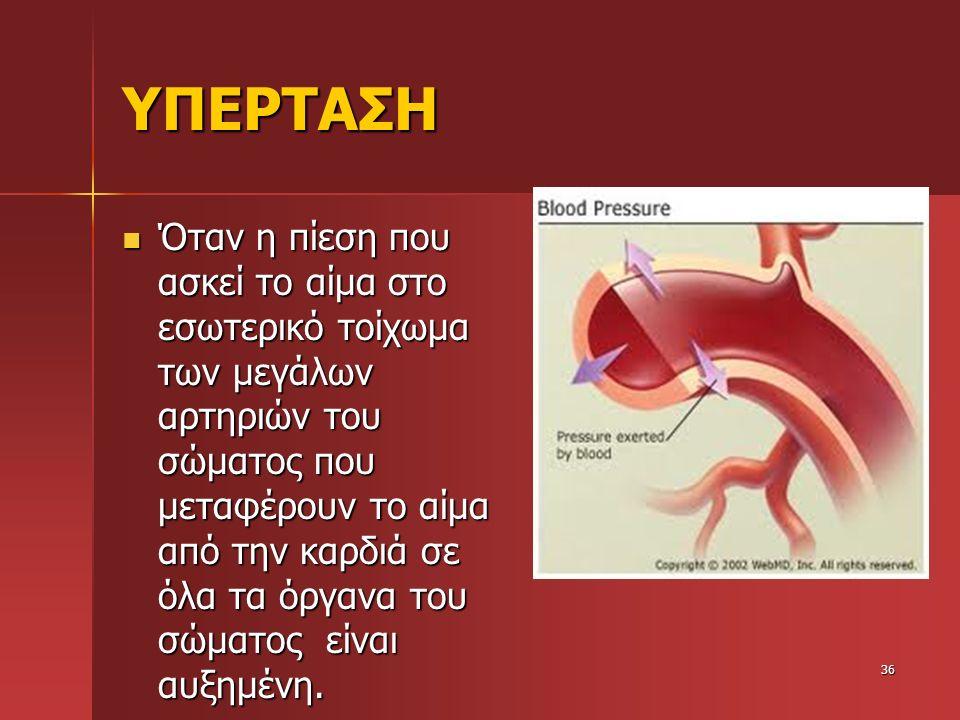 ΥΠΕΡΤΑΣΗ Όταν η πίεση που ασκεί το αίμα στο εσωτερικό τοίχωμα των μεγάλων αρτηριών του σώματος που μεταφέρουν το αίμα από την καρδιά σε όλα τα όργανα