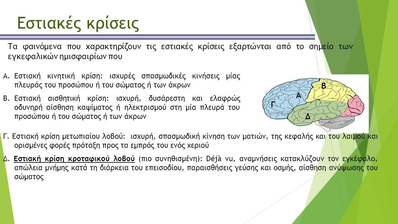 Τα φαινόμενα που χαρακτηρίζουν τις εστιακές κρίσεις εξαρτώνται από το σημείο των εγκεφαλικών ημισφαιρίων που εκδηλώνονται.