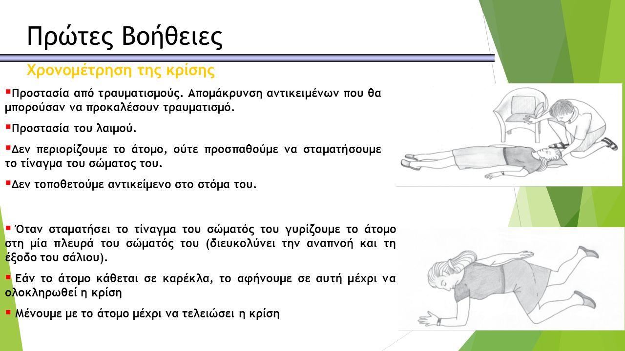 Πρώτες Βοήθειες Χρονομέτρηση της κρίσης  Προστασία από τραυματισμούς.