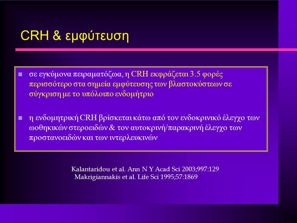 CRH & εμφύτευση n σε εγκύμονα πειραματόζωα, η CRH εκφράζεται 3.5 φορές περισσότερο στα σημεία εμφύτευσης των βλαστοκύστεων σε σύγκριση με το υπόλοιπο ενδομήτριο n η ενδομητρική CRH βρίσκεται κάτω από τον ενδοκρινικό έλεγχο των ωοθηκικών στεροειδών & τον αυτοκρινή/παρακρινή έλεγχο των προστανοειδών και των ιντερλευκινών Κalantaridou et al.