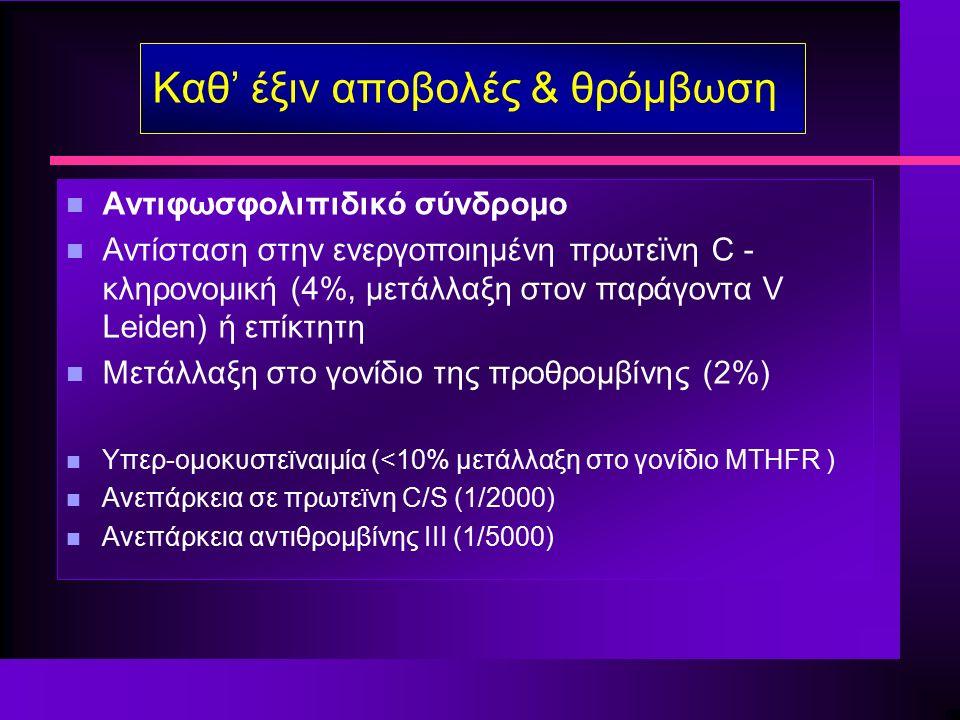 Καθ' έξιν αποβολές & θρόμβωση n Αντιφωσφολιπιδικό σύνδρομο n Αντίσταση στην ενεργοποιημένη πρωτεϊνη C - κληρονομική (4%, μετάλλαξη στον παράγοντα V Leiden) ή επίκτητη n Μετάλλαξη στο γονίδιο της προθρομβίνης (2%) n Υπερ-ομοκυστεϊναιμία (<10% μετάλλαξη στο γονίδιο MTHFR ) n Ανεπάρκεια σε πρωτεϊνη C/S (1/2000) n Ανεπάρκεια αντιθρομβίνης III (1/5000)