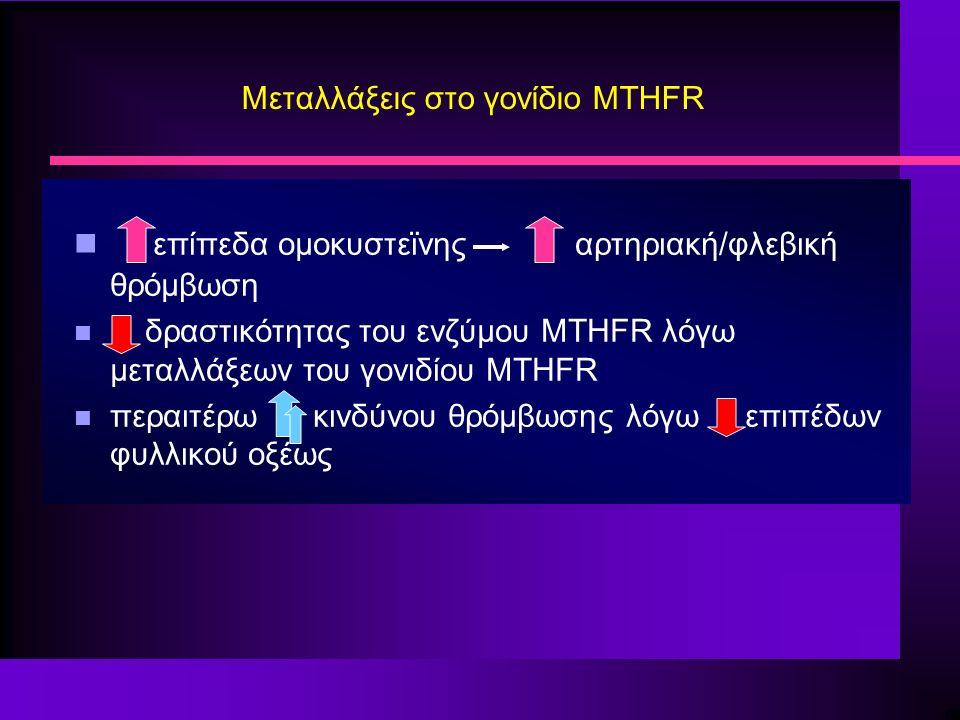 Μεταλλάξεις στο γονίδιο MTHFR επίπεδα ομοκυστεϊνης αρτηριακή/φλεβική θρόμβωση n δραστικότητας του ενζύμου MTHFR λόγω μεταλλάξεων του γονιδίου MTHFR n περαιτέρω κινδύνου θρόμβωσης λόγω επιπέδων φυλλικού οξέως