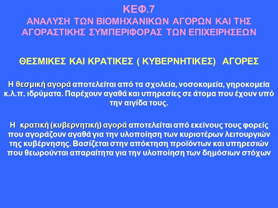 ΚΕΦ.7 ΑΝΑΛΥΣΗ ΤΩΝ ΒΙΟΜΗΧΑΝΙΚΩΝ ΑΓΟΡΩΝ ΚΑΙ ΤΗΣ ΑΓΟΡΑΣΤΙΚΗΣ ΣΥΜΠΕΡΙΦΟΡΑΣ ΤΩΝ ΕΠΙΧΕΙΡΗΣΕΩΝ ΘΕΣΜΙΚΕΣ ΚΑΙ ΚΡΑΤΙΚΕΣ ( ΚΥΒΕΡΝΗΤΙΚΕΣ) ΑΓΟΡΕΣ Η θεσμική αγορά Η θεσμική αγορά αποτελείται από τα σχολεία, νοσοκομεία, γηροκομεία κ.λ.π.