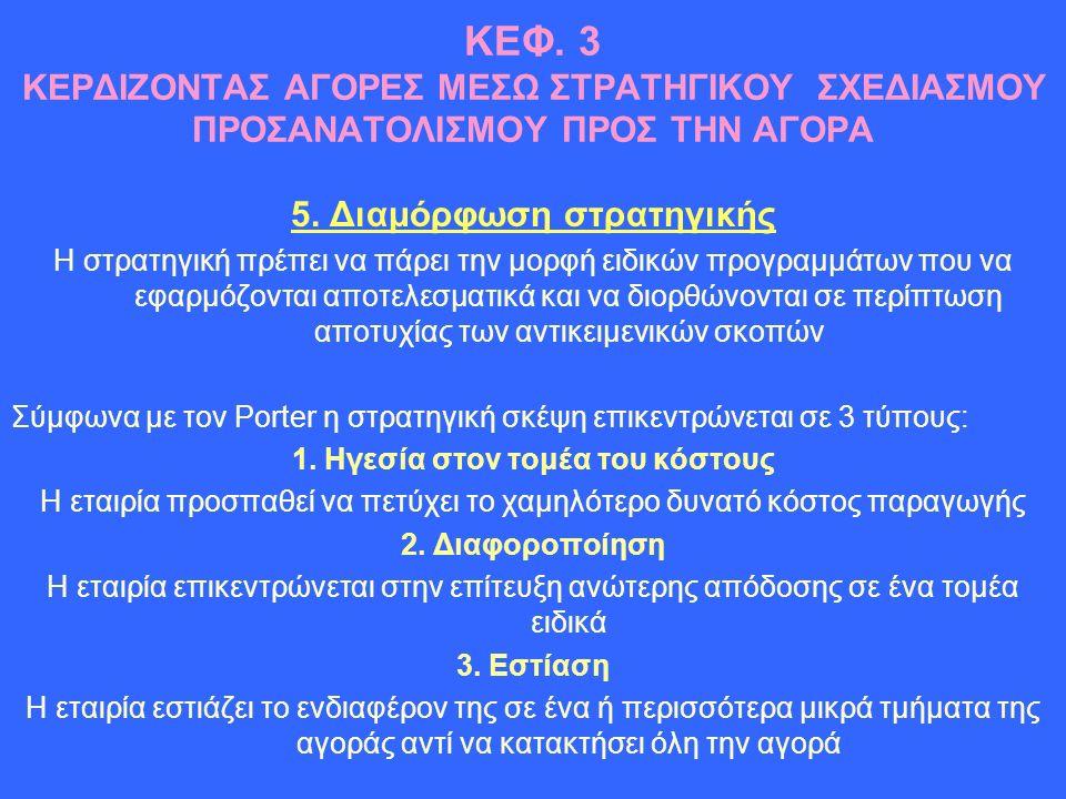 ΚΕΦ. 3 ΚΕΡΔΙΖΟΝΤΑΣ ΑΓΟΡΕΣ ΜΕΣΩ ΣΤΡΑΤΗΓΙΚΟΥ ΣΧΕΔΙΑΣΜΟΥ ΠΡΟΣΑΝΑΤΟΛΙΣΜΟΥ ΠΡΟΣ ΤΗΝ ΑΓΟΡΑ 5.