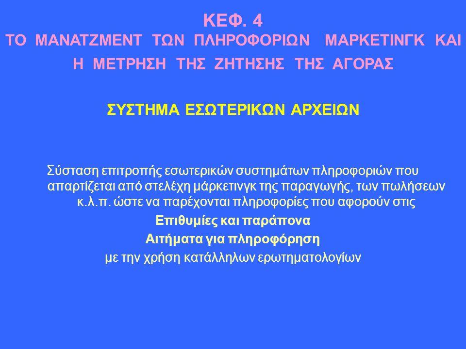 ΣΥΣΤΗΜΑ ΕΣΩΤΕΡΙΚΩΝ ΑΡΧΕΙΩΝ Σύσταση επιτροπής εσωτερικών συστημάτων πληροφοριών που απαρτίζεται από στελέχη μάρκετινγκ της παραγωγής, των πωλήσεων κ.λ.π.