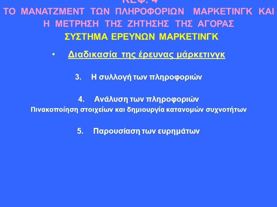Διαδικασία της έρευνας μάρκετινγκ 3.Η συλλογή των πληροφοριών 4.Ανάλυση των πληροφοριών Πινακοποίηση στοιχείων και δημιουργία κατανομών συχνοτήτων 5.Παρουσίαση των ευρημάτων ΚΕΦ.