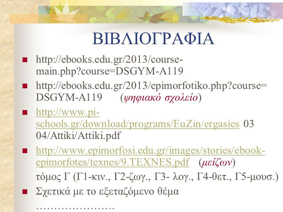 ΒΙΒΛΙΟΓΡΑΦΙΑ http://ebooks.edu.gr/2013/course- main.php course=DSGYM-A119 http://ebooks.edu.gr/2013/epimorfotiko.php course= DSGYM-A119 (ψηφιακό σχολείο) http://www.pi- schools.gr/download/programs/EuZin/ergasies 03 04/Attiki/Attiki.pdf http://www.pi- schools.gr/download/programs/EuZin/ergasies http://www.epimorfosi.edu.gr/images/stories/ebook- epimorfotes/texnes/9.TEXNES.pdf (μείζων) http://www.epimorfosi.edu.gr/images/stories/ebook- epimorfotes/texnes/9.TEXNES.pdf τόμος Γ (Γ1-κιν., Γ2-ζωγ., Γ3- λογ., Γ4-θετ., Γ5-μουσ.) Σχετικά με το εξεταζόμενο θέμα ………………….