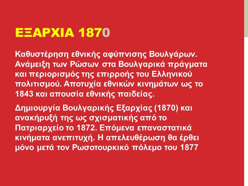 ΕΞΑΡΧΙΑ 1870 Καθυστέρηση εθνικής αφύπνισης Βουλγάρων.