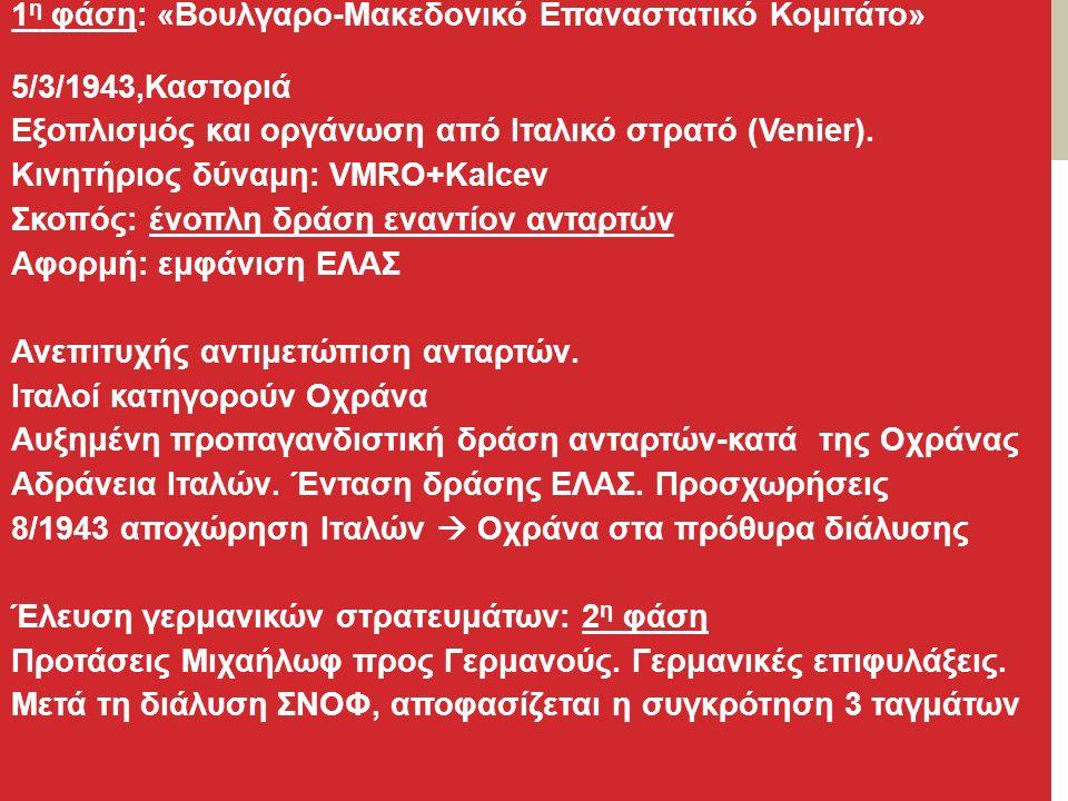 1 η φάση: «Βουλγαρο-Μακεδονικό Επαναστατικό Κομιτάτο» 5/3/1943,Καστοριά Εξοπλισμός και οργάνωση από Ιταλικό στρατό (Venier).
