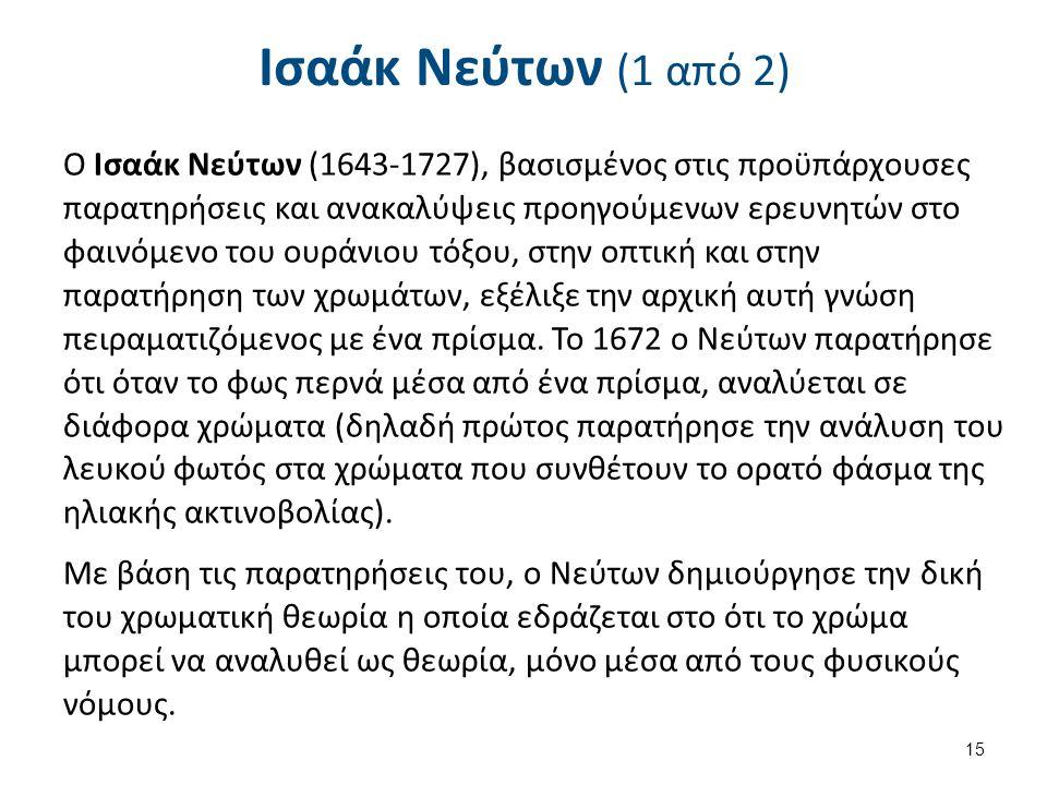 Ισαάκ Νεύτων (1 από 2) O Ισαάκ Νεύτων (1643-1727), βασισμένος στις προϋπάρχουσες παρατηρήσεις και ανακαλύψεις προηγούμενων ερευνητών στο φαινόμενο του