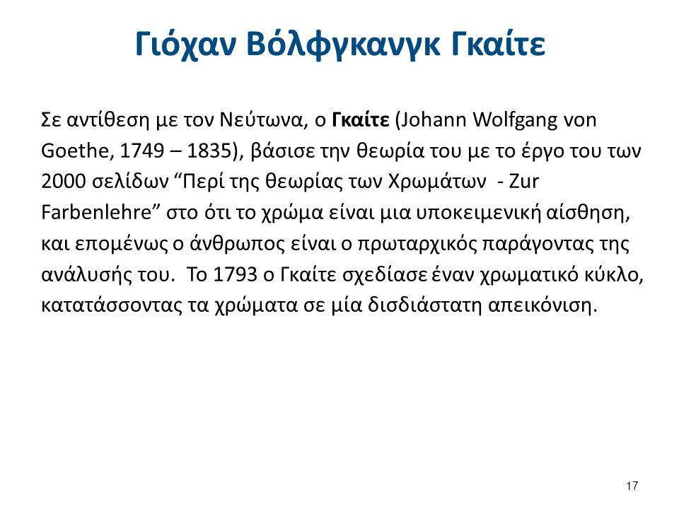 Γιόχαν Βόλφγκανγκ Γκαίτε Σε αντίθεση με τον Νεύτωνα, ο Γκαίτε (Johann Wolfgang von Goethe, 1749 – 1835), βάσισε την θεωρία του με το έργο του των 2000