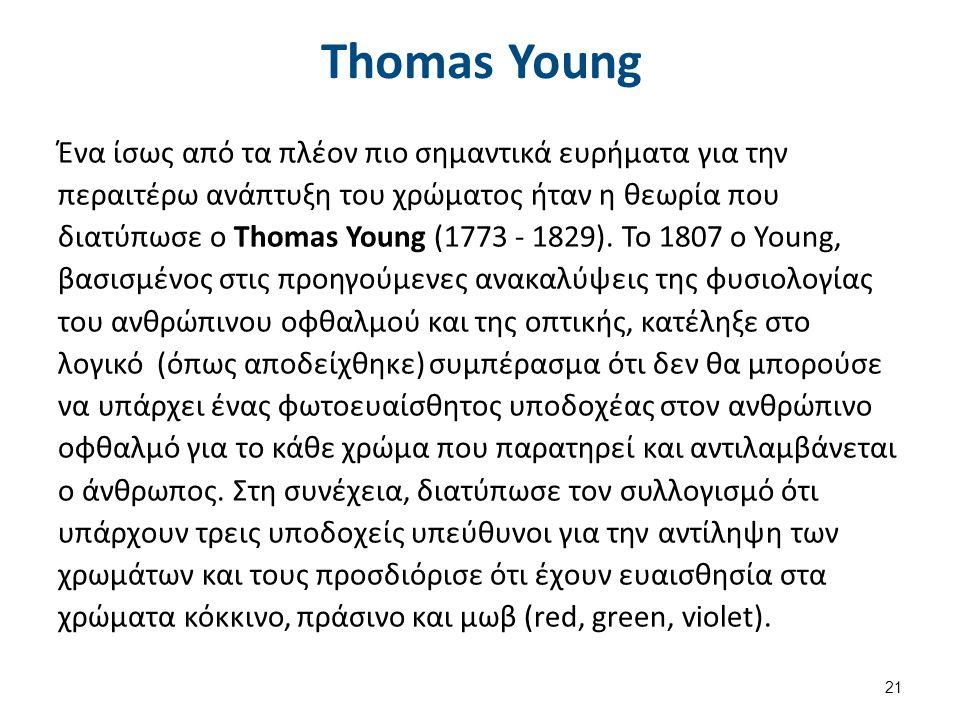 Thomas Young Ένα ίσως από τα πλέον πιο σημαντικά ευρήματα για την περαιτέρω ανάπτυξη του χρώματος ήταν η θεωρία που διατύπωσε ο Thomas Young (1773 - 1