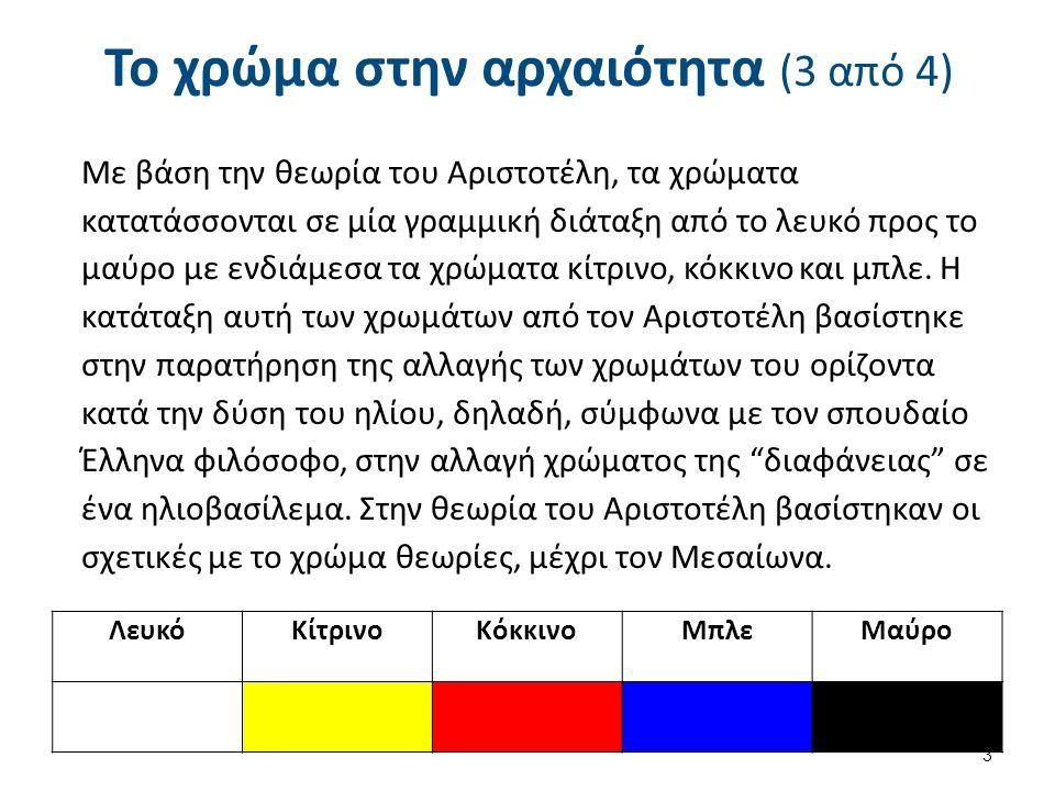 Το χρώμα στην αρχαιότητα (3 από 4) Λευκό ΚίτρινοKόκκινοMπλεMαύρο 3 Με βάση την θεωρία του Αριστοτέλη, τα χρώματα κατατάσσονται σε μία γραμμική διάταξη