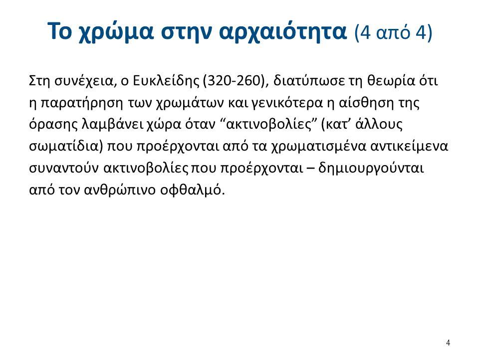 Το χρώμα στην αρχαιότητα (4 από 4) Στη συνέχεια, ο Ευκλείδης (320-260), διατύπωσε τη θεωρία ότι η παρατήρηση των χρωμάτων και γενικότερα η αίσθηση της
