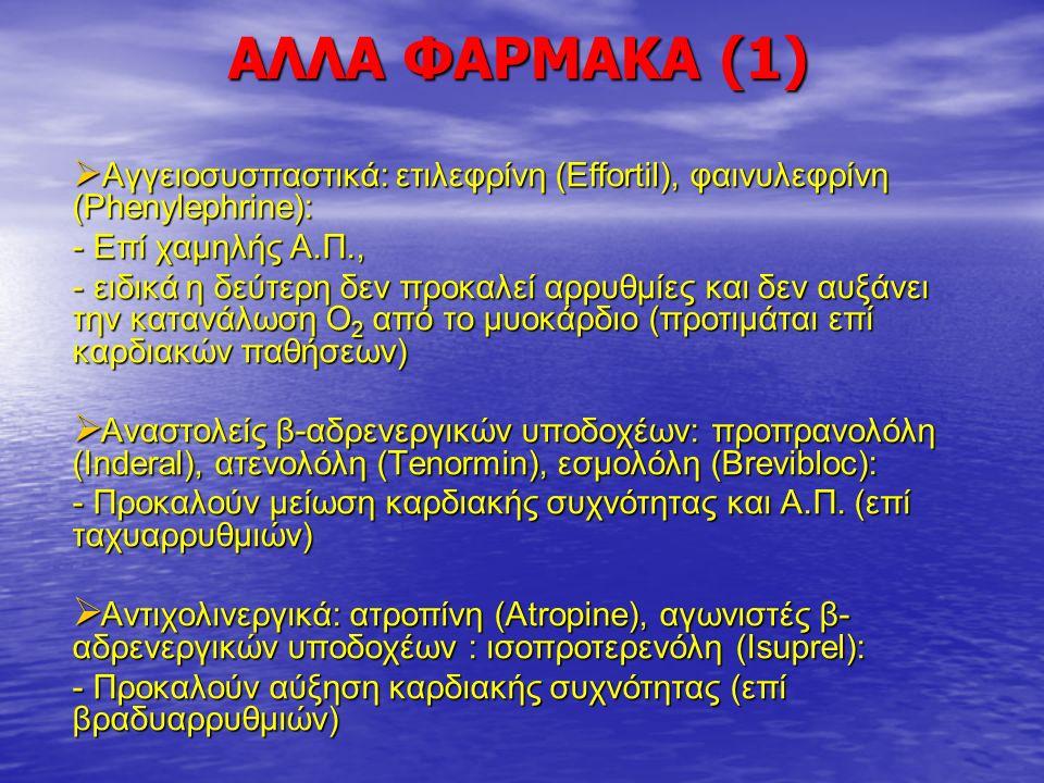 AΛΛΑ ΦΑΡΜΑΚΑ (2)  Αντιυπερτασικά: - ανταγωνιστές ασβεστίου: νιφεδιπίνη (Adalat), διλτιαζέμη (Tildiem), - κεντρικοί αγωνιστές α2 υποδοχέων: κλονιδίνη (Catapresan)  Αντιαρρυθμικά: λιδοκαϊνη (Xylocaine), αμιοδαρόνη (Angoron)  Ανασταλτικά γαστρικής έκκρισης (γαστροπροστασία): ρανιτιδίνη (Primperan)  Ανασταλτικά αντλίας πρωτονίων (πρόληψη γαστροοισοφαγικής παλινδρόμησης): ομεπραζόλη (Zantac)  Άλλα αντιεμετικά: οντασετρόνη (Zofron)  Αντιπηκτικά (πρόληψη θρομβώσεων): ενοξαπαρίνη, ναδροπαρίνη  Διουρητικά: φουροσεμίδη (Lasix)  Αντιεπιληπτικά: φαινυντοϊνη, βαλπροϊκό νάτριο
