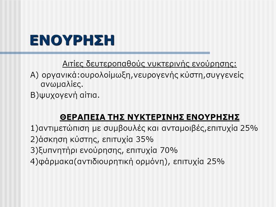 ΕΝΟΥΡΗΣΗ Αιτίες δευτεροπαθούς νυκτερινής ενούρησης: Α) οργανικά:ουρολοίμωξη,νευρογενής κύστη,συγγενείς ανωμαλίες.