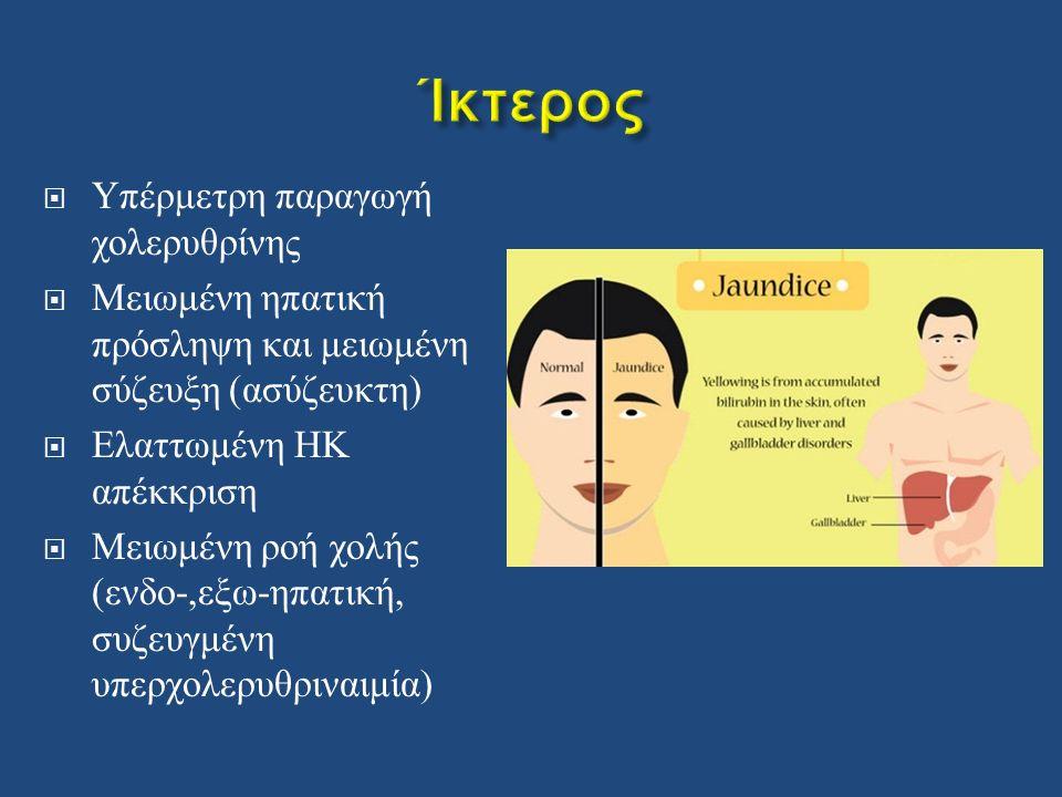  Υπέρμετρη παραγωγή χολερυθρίνης  Μειωμένη ηπατική πρόσληψη και μειωμένη σύζευξη ( ασύζευκτη )  Ελαττωμένη ΗΚ απέκκριση  Μειωμένη ροή χολής ( ενδο -, εξω - ηπατική, συζευγμένη υπερχολερυθριναιμία )