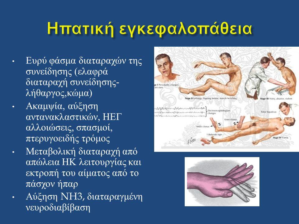 Ευρύ φάσμα διαταραχών της συνείδησης ( ελαφρά διαταραχή συνείδησης - λήθαργος, κώμα ) Ακαμψία, αύξηση αντανακλαστικών, ΗΕΓ αλλοιώσεις, σπασμοί, πτερυγοειδής τρόμος Μεταβολική διαταραχή από απώλεια ΗΚ λειτουργίας και εκτροπή του αίματος από το πάσχον ήπαρ Αύξηση NH3, διαταραγμένη νευροδιαβίβαση