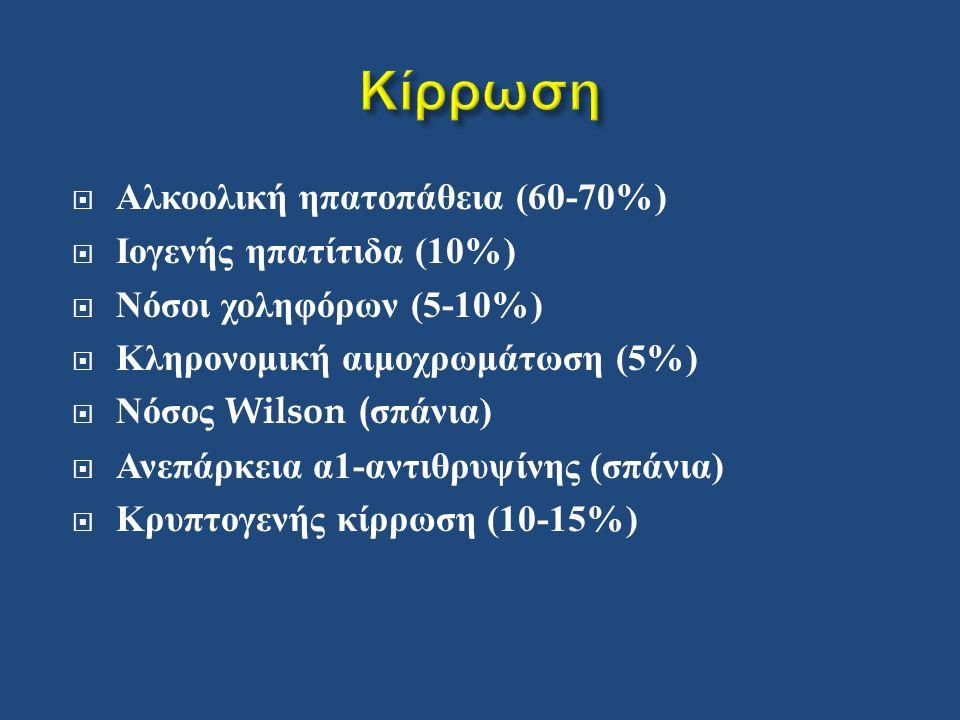  Αλκοολική ηπατοπάθεια (60-70%)  Ιογενής ηπατίτιδα (10%)  Νόσοι χοληφόρων (5-10%)  Κληρονομική αιμοχρωμάτωση (5%)  Νόσος Wilson ( σπάνια )  Ανεπάρκεια α 1- αντιθρυψίνης ( σπάνια )  Κρυπτογενής κίρρωση (10-15%)