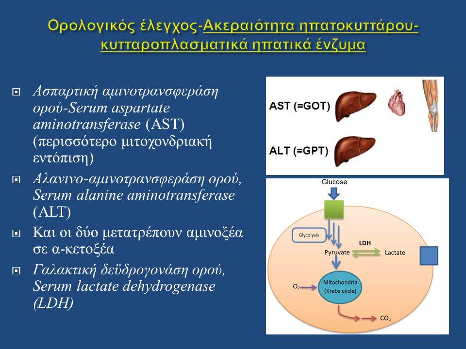  Ασπαρτική αμινοτρανσφεράση ορού -Serum aspartate aminotransferase (AST) ( περισσότερο μιτοχονδριακή εντόπιση )  Αλανινο - αμινοτρανσφεράση ορού, Serum alanine aminotransferase (ALT)  Και οι δύο μετατρέπουν αμινοξέα σε α - κετοξέα  Γαλακτική δεϋδρογονάση ορού, Serum lactate dehydrogenase (LDH)