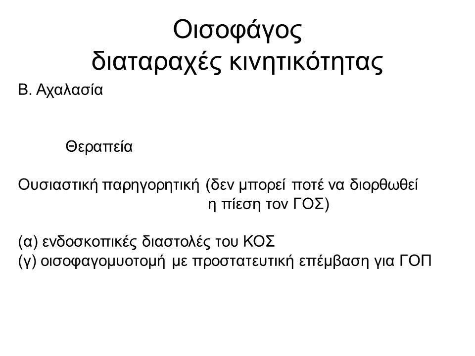 Οισοφάγος διαταραχές κινητικότητας Β.