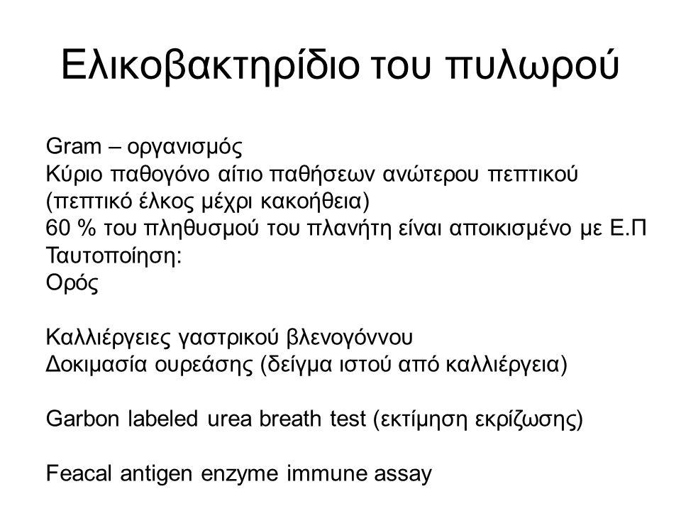 Ελικοβακτηρίδιο του πυλωρού Gram – οργανισμός Κύριο παθογόνο αίτιο παθήσεων ανώτερου πεπτικού (πεπτικό έλκος μέχρι κακοήθεια) 60 % του πληθυσμού του πλανήτη είναι αποικισμένο με Ε.Π Ταυτοποίηση: Ορός Καλλιέργειες γαστρικού βλενογόννου Δοκιμασία ουρεάσης (δείγμα ιστού από καλλιέργεια) Garbon labeled urea breath test (εκτίμηση εκρίζωσης) Feacal antigen enzyme immune assay