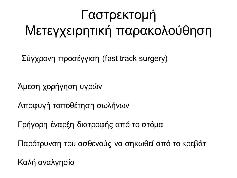 Γαστρεκτομή Μετεγχειρητική παρακολούθηση Σύγχρονη προσέγγιση (fast track surgery) Άμεση χορήγηση υγρών Αποφυγή τοποθέτηση σωλήνων Γρήγορη έναρξη διατροφής από το στόμα Παρότρυνση του ασθενούς να σηκωθεί από το κρεβάτι Καλή αναλγησία