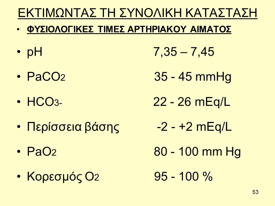 53 ΕΚΤΙΜΩΝΤΑΣ ΤΗ ΣΥΝΟΛΙΚΗ ΚΑΤΑΣΤΑΣΗ ΦΥΣΙΟΛΟΓΙΚΕΣ ΤΙΜΕΣ ΑΡΤΗΡΙΑΚΟΥ ΑΙΜΑΤΟΣ pH 7,35 – 7,45 PaCO 2 35 - 45 mmHg HCO 3- 22 - 26 mEq/L Περίσσεια βάσης -2 - +2 mEq/L PaO 2 80 - 100 mm Hg Κορεσμός O 2 95 - 100 %