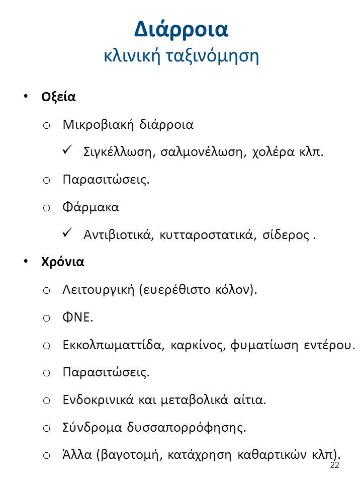 Διάρροια κλινική ταξινόμηση Οξεία o Μικροβιακή διάρροια Σιγκέλλωση, σαλμονέλωση, χολέρα κλπ.