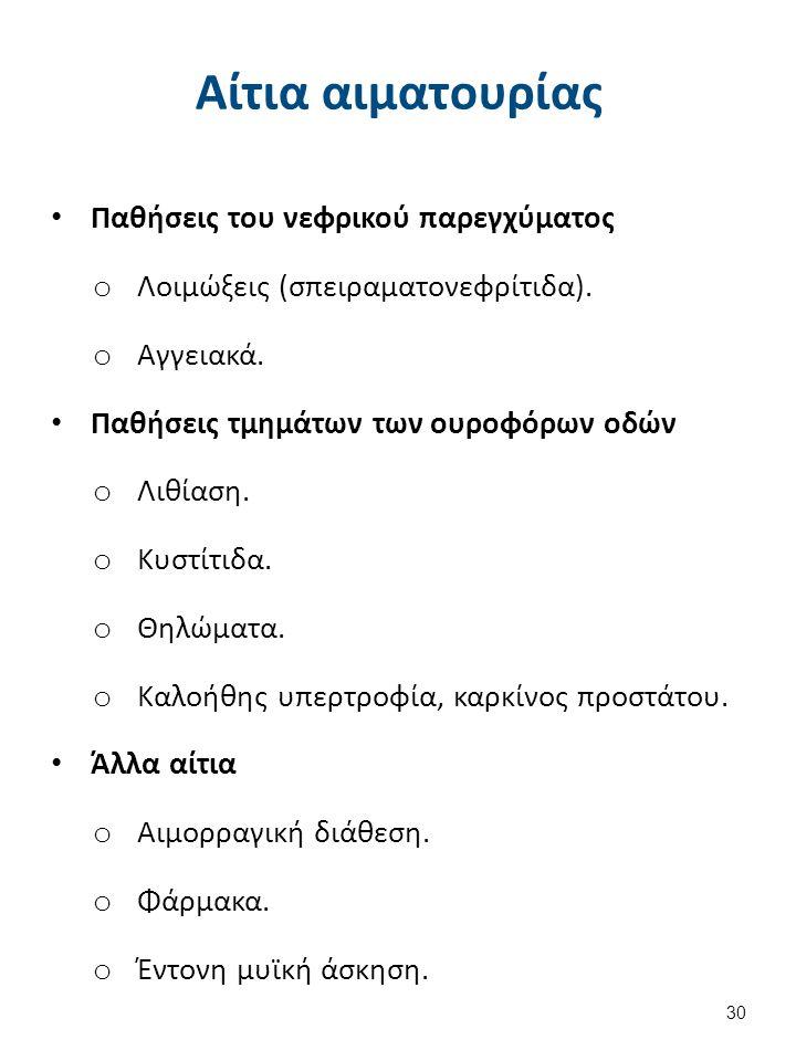 Αίτια αιματουρίας Παθήσεις του νεφρικού παρεγχύματος o Λοιμώξεις (σπειραματονεφρίτιδα).