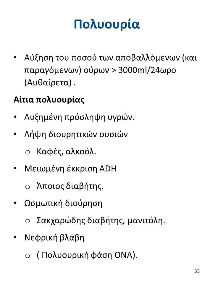 Πολυουρία Αύξηση του ποσού των αποβαλλόμενων (και παραγόμενων) ούρων > 3000ml/24ωρο (Αυθαίρετα). Αίτια πολυουρίας Αυξημένη πρόσληψη υγρών. Λήψη διουρη