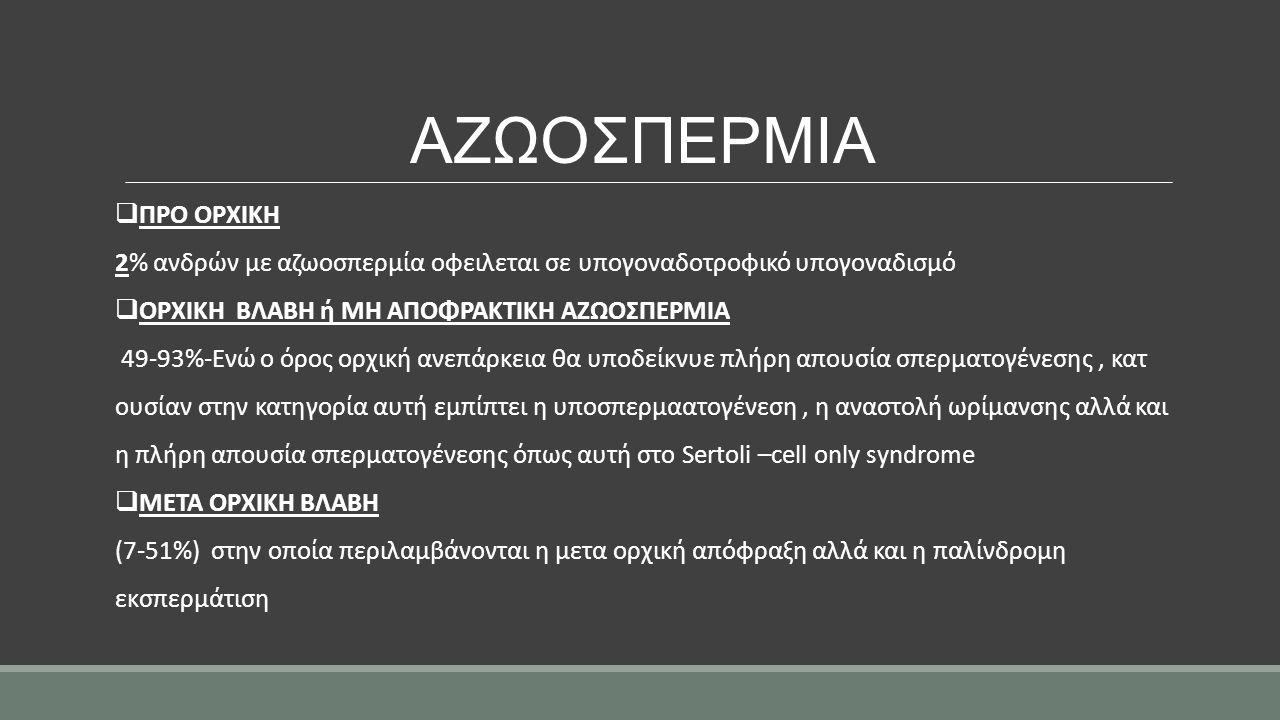 ΑΖΩΟΣΠΕΡΜΙΑ  ΠΡΟ ΟΡΧΙΚΗ 2% ανδρών με αζωοσπερμία οφειλεται σε υπογοναδοτροφικό υπογοναδισμό  ΟΡΧΙΚΗ ΒΛΑΒΗ ή ΜΗ ΑΠΟΦΡΑΚΤΙΚΗ ΑΖΩΟΣΠΕΡΜΙΑ 49-93%-Ενώ ο