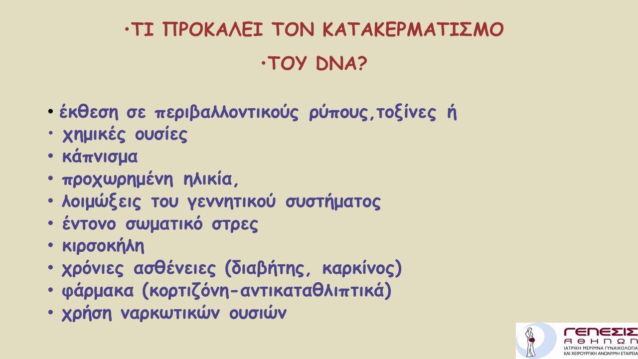 ΤΙ ΠΡΟΚΑΛΕΙ ΤΟΝ ΚΑΤΑΚΕΡΜΑΤΙΣΜΟ ΤΟΥ DNA? έκθεση σε περιβαλλοντικούς ρύπους,τοξίνες ή χημικές ουσίες κάπνισμα προχωρημένη ηλικία, λοιμώξεις του γεννητικ