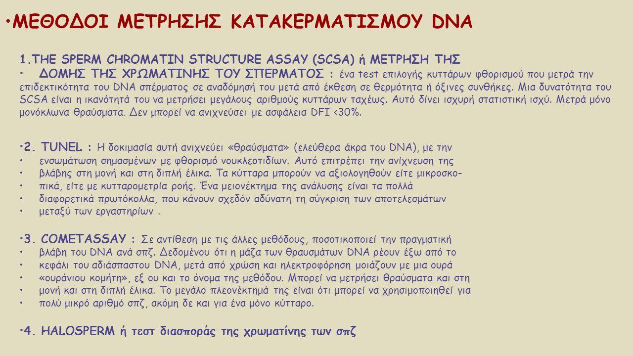 1.THE SPERM CHROMATIN STRUCTURE ASSAY (SCSA) ή ΜΕΤΡΗΣΗ ΤΗΣ ΔΟΜΗΣ ΤΗΣ ΧΡΩΜΑΤΙΝΗΣ ΤΟΥ ΣΠΕΡΜΑΤΟΣ : ένα test επιλογής κυττάρων φθορισμού που μετρά την επι