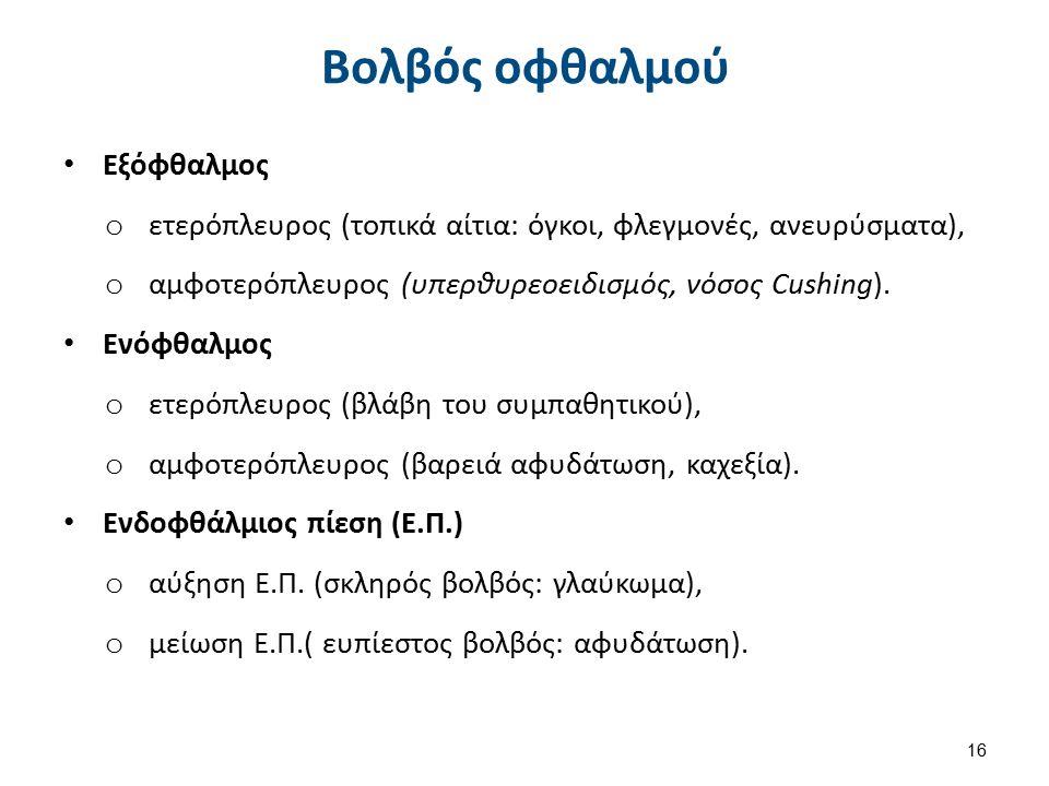 Εξόφθαλμος o ετερόπλευρος (τοπικά αίτια: όγκοι, φλεγμονές, ανευρύσματα), o αμφοτερόπλευρος (υπερθυρεοειδισμός, νόσος Cushing). Ενόφθαλμος o ετερόπλευρ