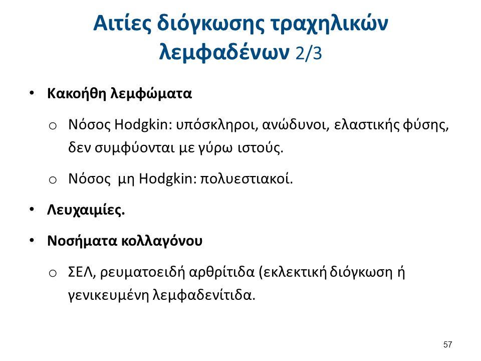 Κακοήθη λεμφώματα o Νόσος Hodgkin: υπόσκληροι, ανώδυνοι, ελαστικής φύσης, δεν συμφύονται με γύρω ιστούς. o Νόσος μη Hodgkin: πολυεστιακοί. Λευχαιμίες.